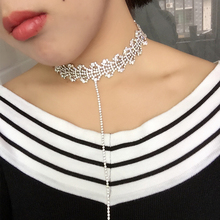 luxury Austrian crystal stone Hollow flowers chocker necklace with long chain T collares mujer boho jewelry for sexy lady