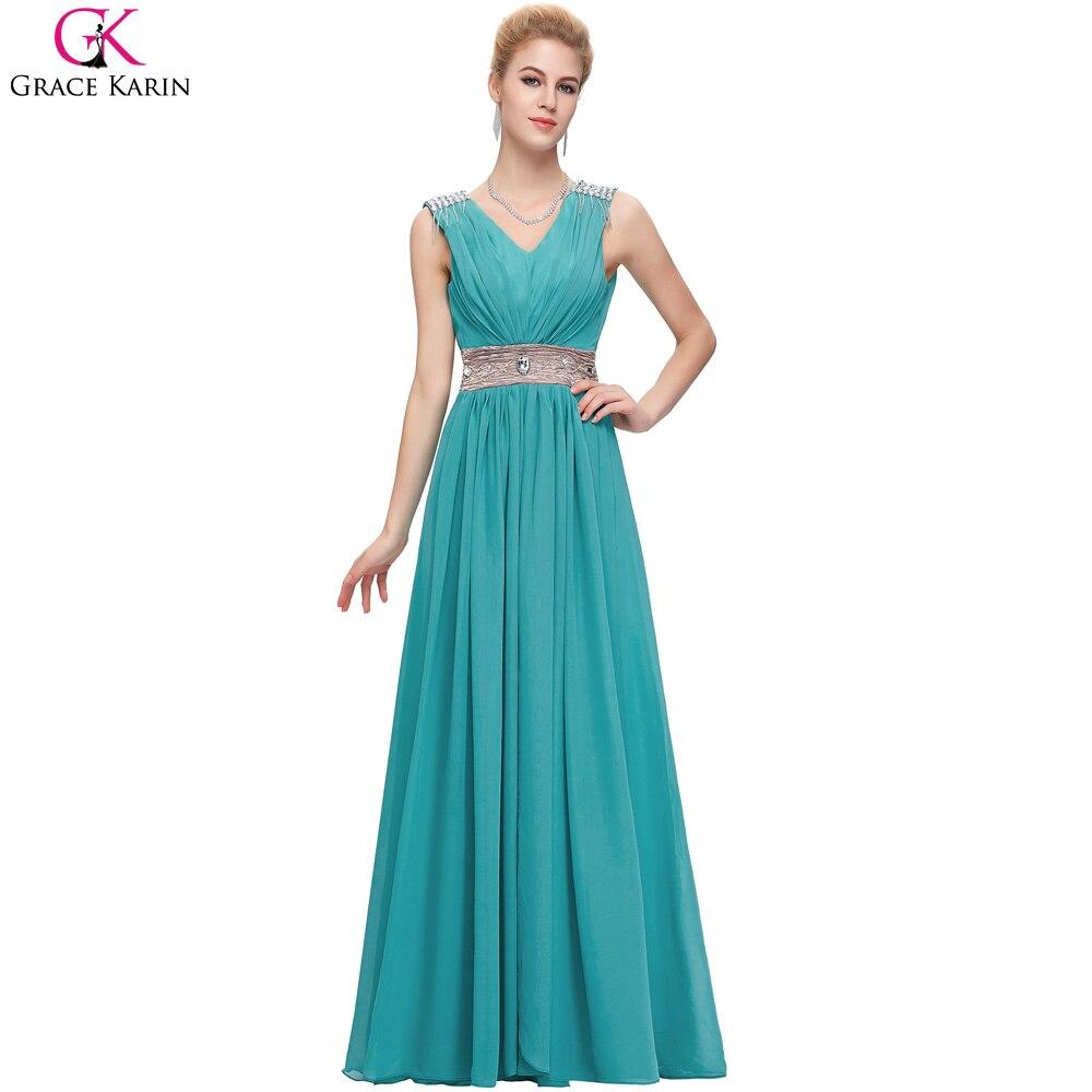 Elegant Turquoise Gray Red Long Prom Dresses 2017 Sexy V Neck Long ...