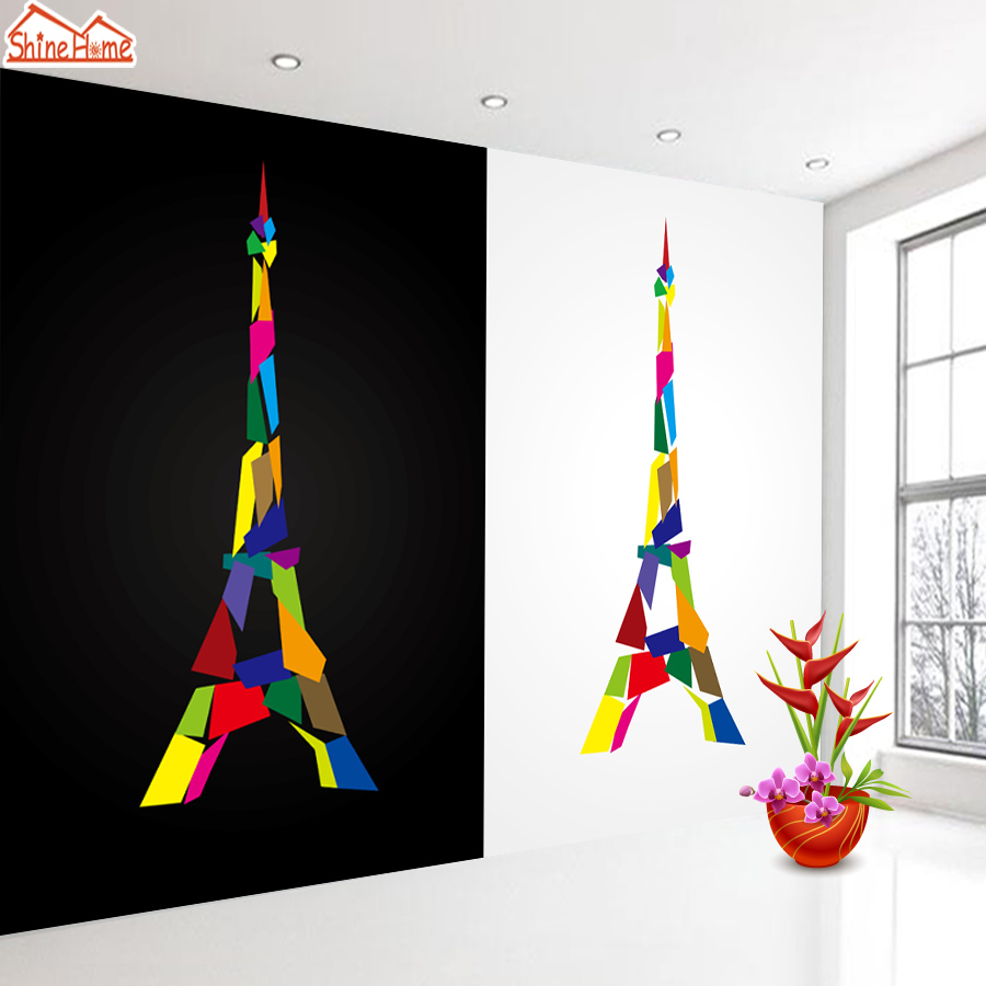 ShineHome-Eiffel Tower Black and White Night City Building Wallpapers for 3 d  Living Room Wallpaper Murals Roll 3d Walls Paper shinehome sunflower bloom retro wallpaper for 3d rooms walls wallpapers for 3 d living room home wall paper murals mural roll