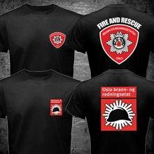 2019 Fashion Double Side Norway Oslo Fire Department Firemen Firefighter Brann- Og Redningsetaten T-Shirt Unisex Tee