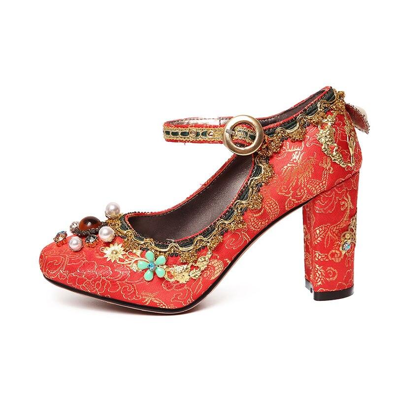 Retro Mujeres Tinto Mary Zapatos Rojo Bordar Boda Rojo Phoentin vino Jane Chino Jacquard Cadena Tela Cristal 2019 Novia De Ft465 8qHxYPw