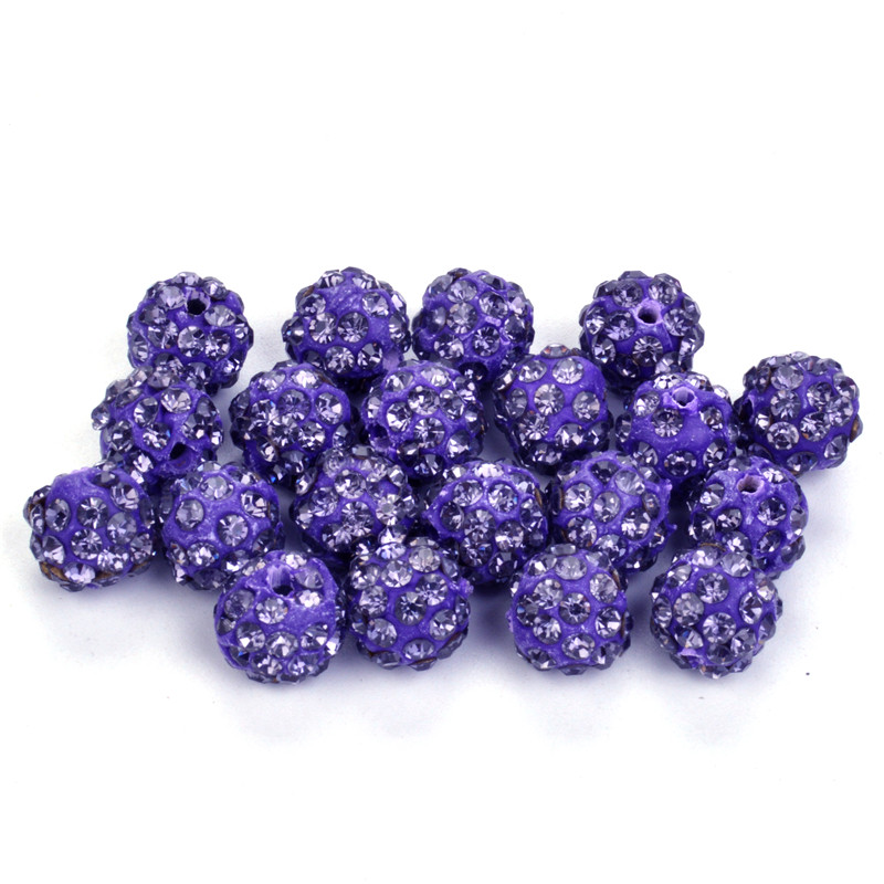 Independent Hot Sale 50pcs 10mm Dutch Purple Shamballa Beads Crystal Disco Ball Beads Shambhala Spacer Beads Shamballa Bracelet Crystal Clay Beads Jewelry & Accessories