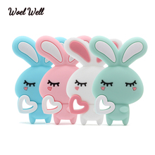 Woel Well 10pc Silicone Teether Rabbit Teething  Toy Of Cartoon Charms Necklace Making New Baby Product Food Grade