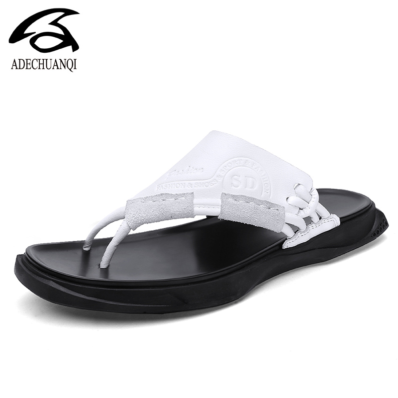 Men Slippers 2019 New Summer Beach Genuine Leather Shoes Men Casual Sandal Flip Flops Slip-On Man Footwear Outdoor