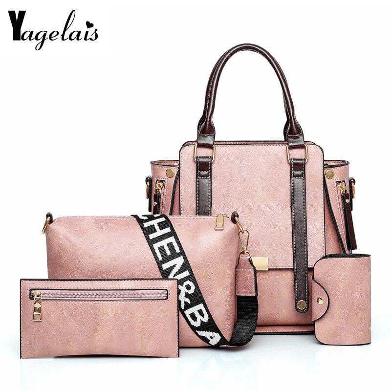 Fashion 4 Pieces/set PU Leather Handbag Four Set Composit Bag Large Capacity Tote Bag Female Crossbody Bag Purse Wallet 2019 New