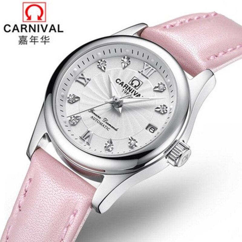 Saatler'ten Kadın Saatleri'de Karnaval Kadın Saatler en Lüks Marka bayanlar Otomatik Mekanik İzle Kadınlar Safir Su Geçirmez relogio feminino reloj mujer'da  Grup 2