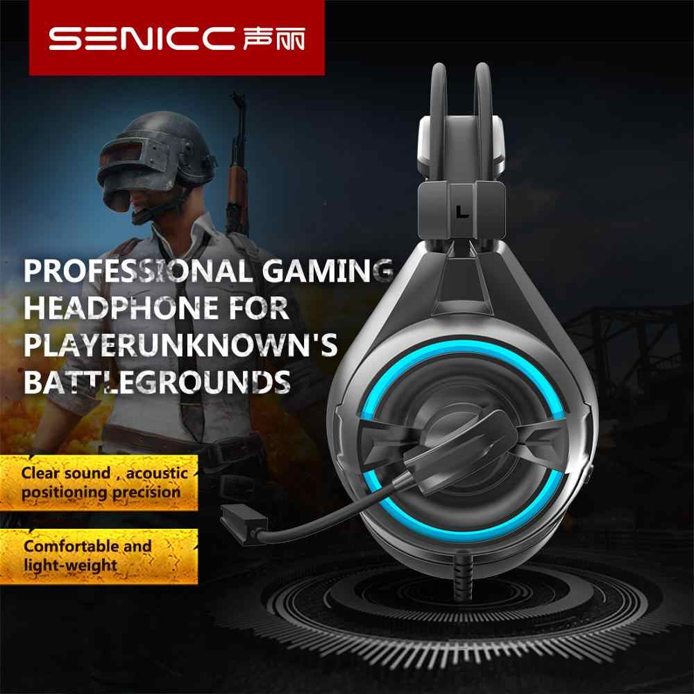 SENICC A6 Driver Free USB Gaming Headset LED Noise Cancelling Headphones with Rotatable Mic for LOL CS PUBG Computer