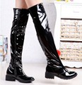 Boots Patent Leather Women Large size small yards 35 36 37 38 39 40 41 42 43 high heel 4CM Thick heel EUR Size 34-44