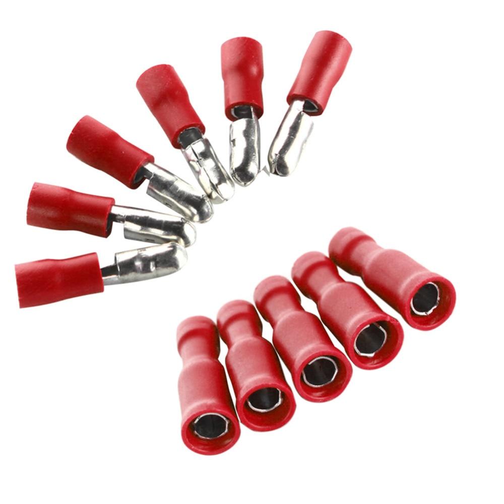 100 pièces rouge mâle et femelle isolé connecteur de balle bornes 22-16AWG jeu de fils
