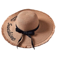 NEW-Handmade Weave Letter Sun Hats Large Brim Straw Hat Outdoor Beach Summer Caps For Women Ribbon Lace Up