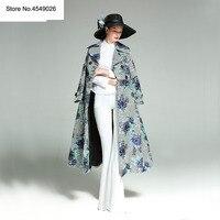 2018 Большие размеры осенне зимнее модное длинное пальто с цветочной вышивкой роскошный Тренч женский двубортный облегающая верхняя одежда