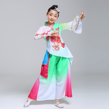 Chinese Folk Dance Girls Fan Dancewear Traditional National Clothes Children Modern Umbrella Ancient Dance Costumes Tops + Pants silk traditional bamboo fan with painting ancient chinese golden