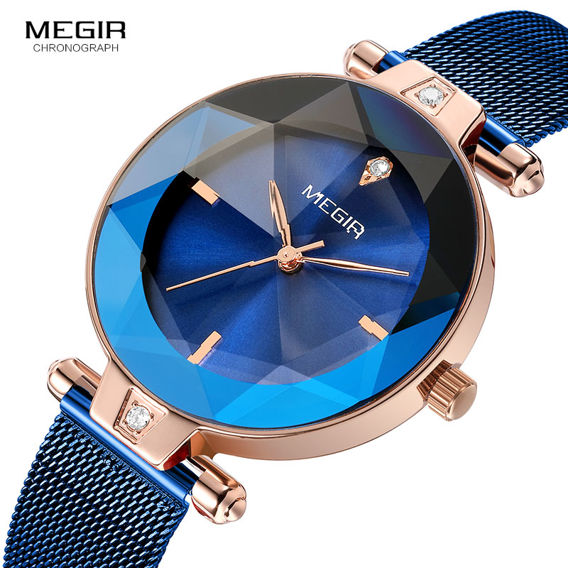 MEGIR Womens Simple Analogue Quartz Watches Mesh Bracelet Wristwatch 2019 New Clock Top Brand Relogios Masculino 4209 BlueMEGIR Womens Simple Analogue Quartz Watches Mesh Bracelet Wristwatch 2019 New Clock Top Brand Relogios Masculino 4209 Blue