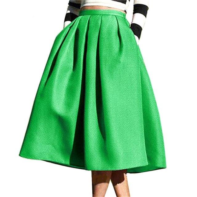 Moda de las mujeres femeninas de color verde flare ocasional alta cintura bolsillos plisados vintage falda de midi jupe femmes envío gratis