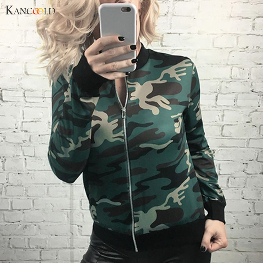 Coats Women 2017 Green bomber   jackets   Womens coat   basic     Jacket   Camouflage Print zipper chaquetas biker outwear Coat Female Au013
