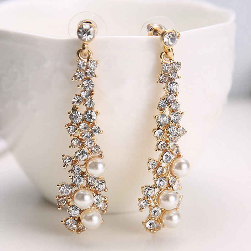 Fashion Crystal Women Lady's Pearl Rhinestone Dangle Chandelier Earrings Jewelry