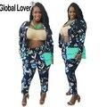 2016 Moda Otoño Mujeres Trajes Pantalones Conjunto Estampado de Flores Traje de Pantalones Formales de Negocios Abrigos Ropa Básica Capa de La Chaqueta Ol Femenino