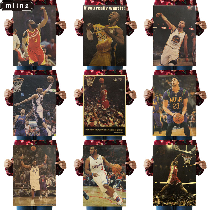 Mling 1PC Basketball Star Player Michael Jordan Vintage Home Decoration  Poster Wall Chart Retro Matte Kraft Paper Wall Sticker
