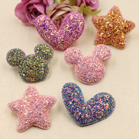 Wholesale 30PCS Lot Glitter Kawaii Stars Animal Mouse Head Lovely Heart Button Patchs DIY Hair Jewelry