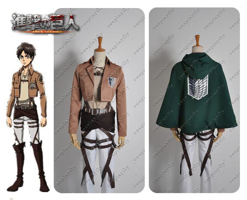 Attack on Titan Eren Jager Recon Corps Cosplay Costume Custom Made With or Without Cloak Two Set Versions (W0238-2)