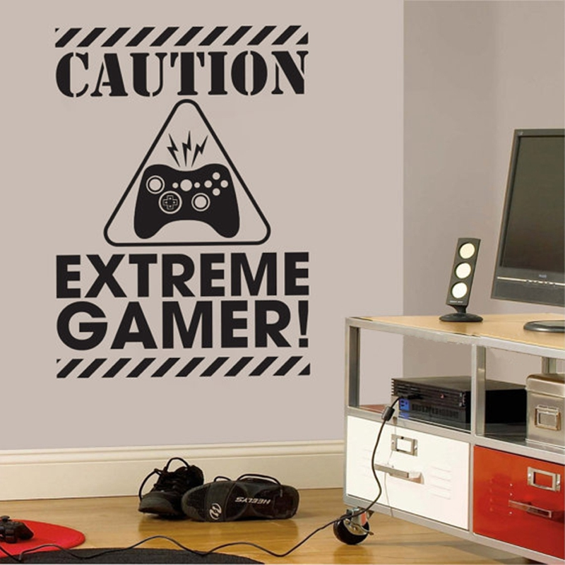 Gamer Wall Decal Sticker - Video Gamer Birthday Gift Vinyl Wall Sticker For Kids Room/  sc 1 st  AliExpress.com & Caution Extreme Gamer Vinyl Wall Art Stickers Gaming Removable Wall ...