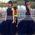 Elegant Navy Blue Beading Long Mermaid Prom Dresses 2016 Formal Tulle Sexy Cheap Evening Gowns Party Dress vestidos de fiesta