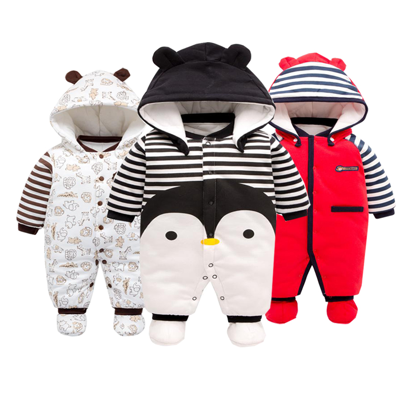 Newborn Clothes Winter Outdoor Baby Body   Rompers  ,cotton Thickened Christmas Boy Jumpsuit Cartoon Animal Winter Black Clothes