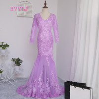 Pink Robe De Soiree Mermaid Long Sleeves Tulle Appliques Lace Long Evening Dresses Evening Gown Prom