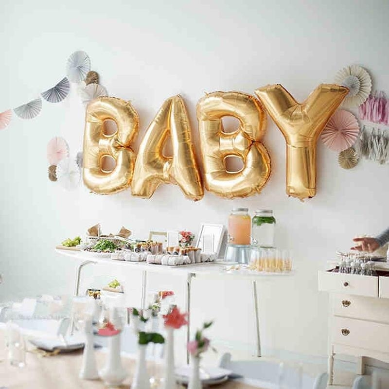 Hoomall 16 baby love letter wedding balloons gold foil balloons baby sh - Idee deco baby shower ...