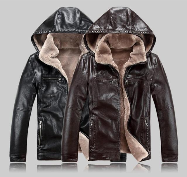 2019 Yeni Erkek Hakiki Deri Ceket koyun derisi erkek Kapüşonlu Ceket deri kışlık ceketler erkek EMS Ücretsiz Kargo Artı Boyutu M 5XL