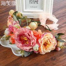 164627300 Haimeikang Rose Peony Flower Crown Girl Bridal Floral Headband Wreath  Wedding HairBands Hair Accessories Women Bridesmaid