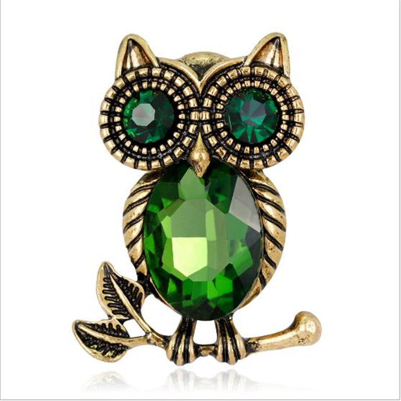 Sitaicery Green Eyes Enamel Pins Owl Metal Badge Animal Vintage Brooches For Women Men Clothes Scarf Buckle Collar Pins Jewelry in Brooches from Jewelry Accessories