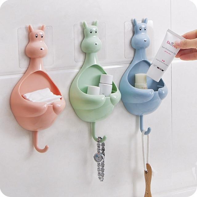 Cute Kangaroo Multifunction Bathroom Sticker Storage Box Wall Mounted Soap  Box Double Hook Hanger Toothbrush