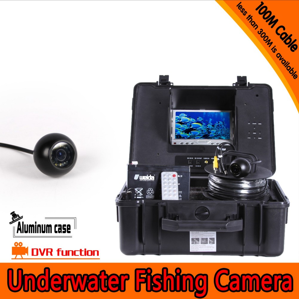 Dome Shape Underwater <font><b>Fishing</b></font> <font><b>Camera</b></font> Kit with 100Meters Depth Cable & 7Inch LCD Monitor with DVR Function & OSD Menu