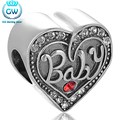925 Sterling Silver Charms Baby Love Heart Shape European Charm Beads Fit Bracelets Bangles For Chindren Kids GW Brand X357