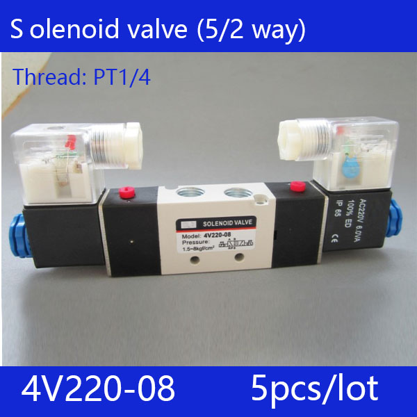 Free shipping 5pcs lot good qualty 5 port 2 position Solenoid Valve 4V220 08 have DC24v
