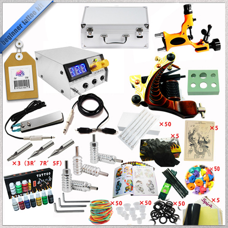 Factory Complete Tattoo Kit 1 Pro Rotary Machine1 cast tattoo Guns7 Inks Power Supply Needle Grips Practice SkinTTKS-032 solong tattoo complete tattoo kit 2 pro machine guns 54 inks power supply foot pedal needles grips tips tk244