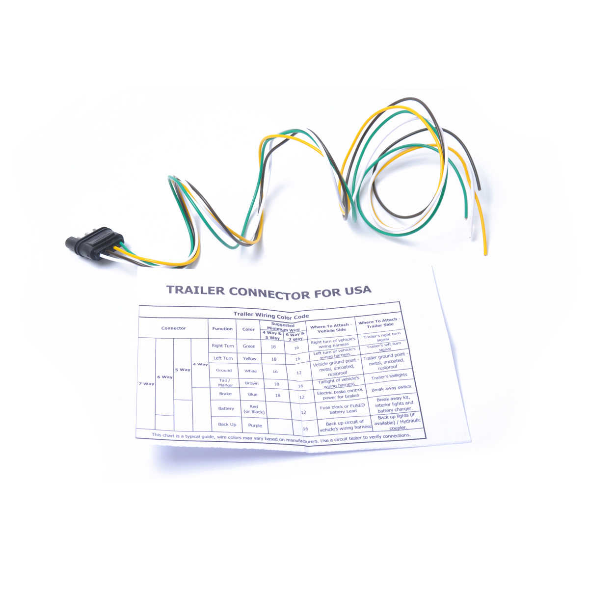 4 prong trailer connector wiring diagram for 100cm 4 way 4 pin trailer wire extension flat connector plug and  100cm 4 way 4 pin trailer wire