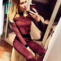 TAOVK design Russia style New Autumn Tracksuit Women Hoodies 2-Piece Set Wine red t-shirts+Long Pants) Leisure Suits