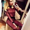 TAOVK diseño Rusia estilo Nuevo Otoño Mujeres Chándal Hoodies 2-Piece Set de Vino rojo camisetas + Pantalones Largos) Trajes de ocio