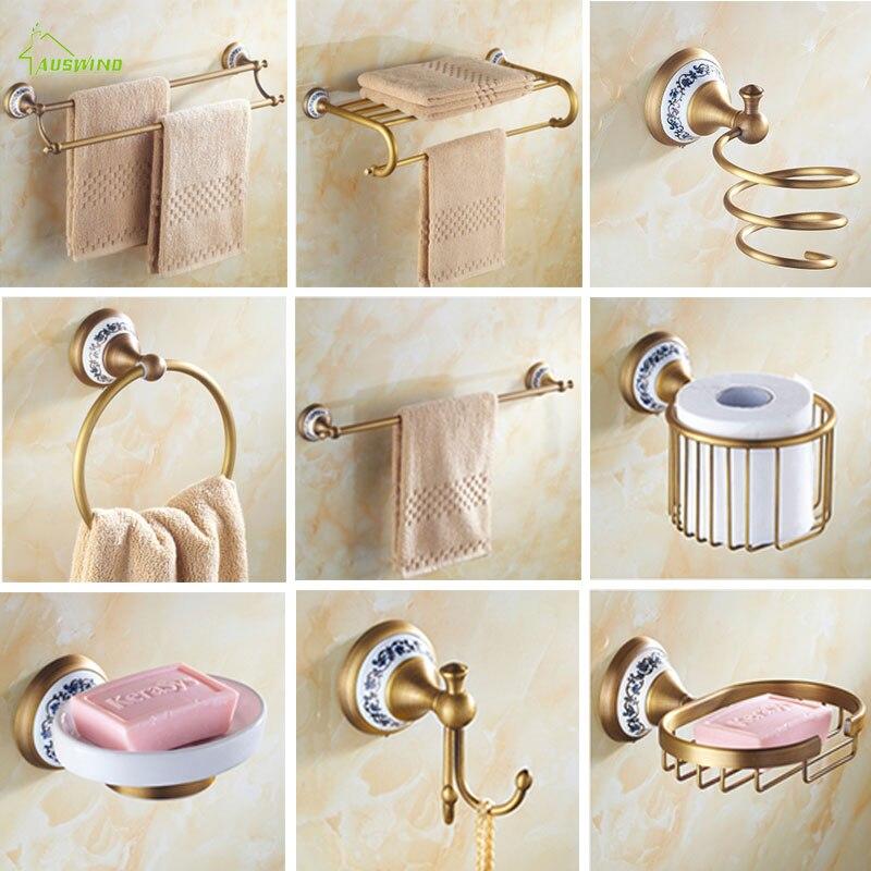Antique Brass Brushed Bath Hardware Sets Porcelain Base ...