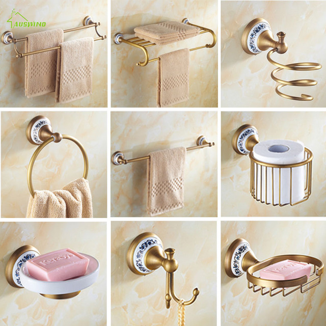 Accessori Bagno In Ottone.Ottone Antico Spazzolato Bath Sets Hardware Porcellana Base Bronzo