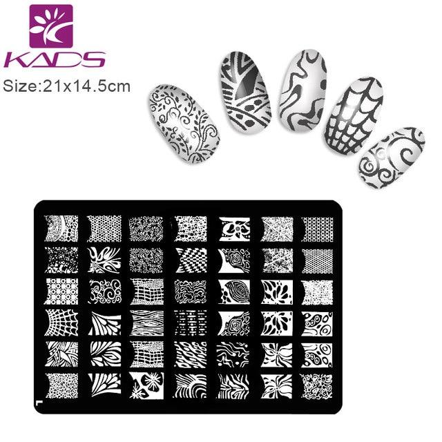 KADS 1Pcs Nail Stencil Black Lace DIY Stamping Plates Konad Art