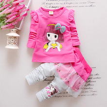 Spring and autumn girl suit cotton 1-3 years old children with long sleeved clothes t-shirt pants two piece girls clothing set