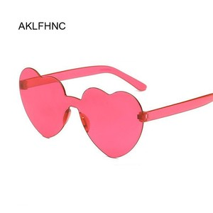 Love Heart Shape Sunglasses Women Rimless Frame Tint Clear Lens Colorful Sun Glasses Female Red Pink Yellow Shades Travel(China)