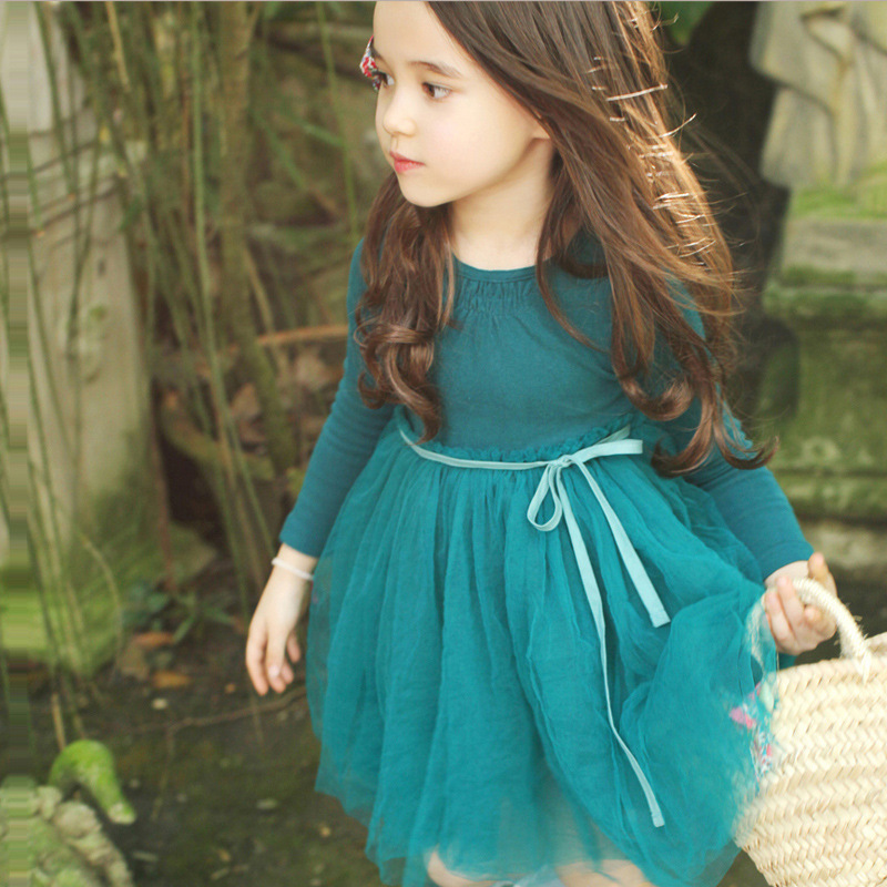 High Quality! New 2017 Girls Long Sleeve Dress Children Lace Dresses Baby Cotton Dress Kids Ball Gown Toddler Basic Dress, 2-10Y toddlers girls dots deer pleated cotton dress long sleeve dresses