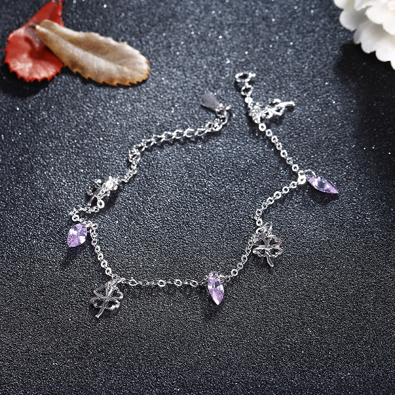 100% 925 sterling silver fashion shiny purple crystal flower ladies`anklets jewelry women anklet wholesale female gift
