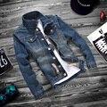 XS-5XL 2016 moda masculina slim fit lazer algodão jaqueta jeans/High-grade lazer moda masculina jaqueta jeans/grandes casacos tamanho