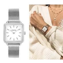 Популярные женские серебряные квадратные тонкие часы из водонепроницаемой