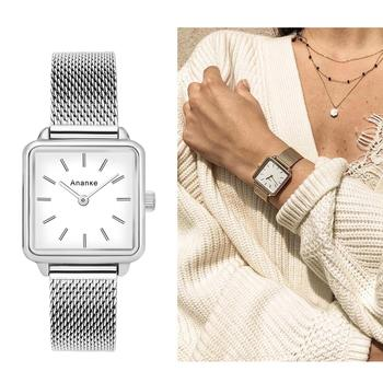 HOT Women Silver Square Slim Watch Waterproof Stainless Steel Mesh Band Quartz Wristwatch Office Lady Blue Dial Simple Watch